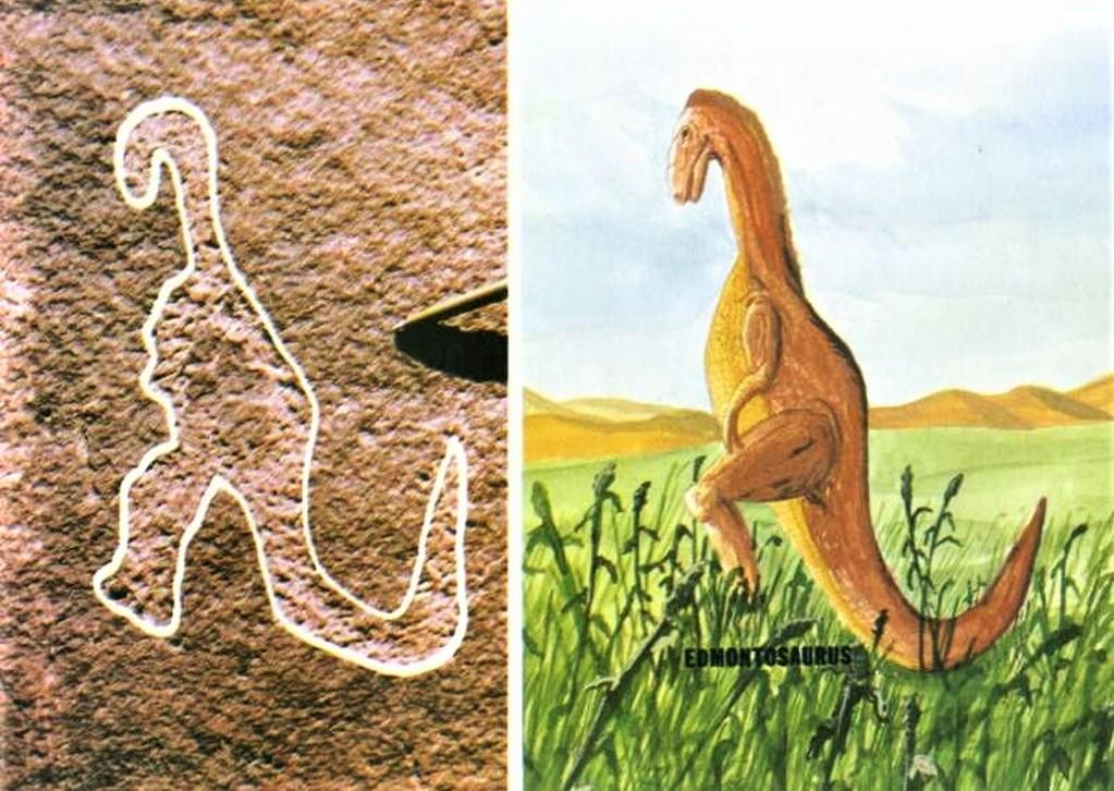 ჩრდილოამერიკელი ინდიელების კლდეზე ნახატი და ნამარხი ცხოველის - ედმონტოზავრის რეკონსტუქცია.