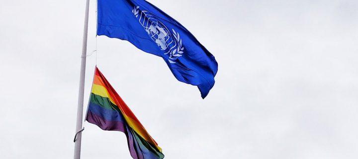 ბილწი ლგბტ დროშა UNICEF-ის ოფისის თავზე